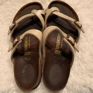 Birkenstock Mayari Cream Leather sandal sz 39